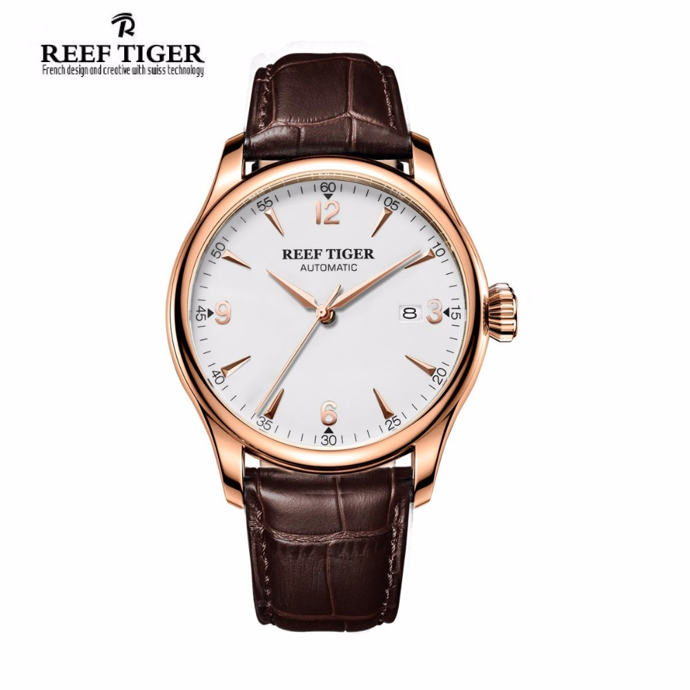 Reef Tiger/RT 2017 New Dress Automatic Watches For Men Rose Gold Leather Strap Analog Display Watch RGA823G 2x yongnuo yn600ex rt yn e3 rt master flash speedlite for canon rt radio trigger system st e3 rt 600ex rt 5d3 7d 6d 70d 60d 5d