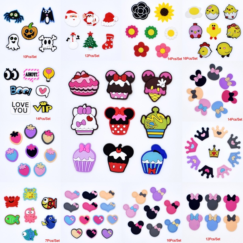 Cartoon Flowers Crown Cakes Holloween Soft PVC Charms For Hole Beach Clogs Shoes Bracelet/Wristbands Promotional Gifts