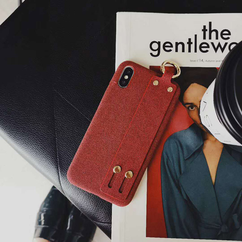 Fashion business Wrist band Cloth grain Phone Case for iphone 6 6s plus 7 8 plus X XR XS Max Simple Style Soft Fabric TPU Cover in Wallet Cases from Cellphones Telecommunications
