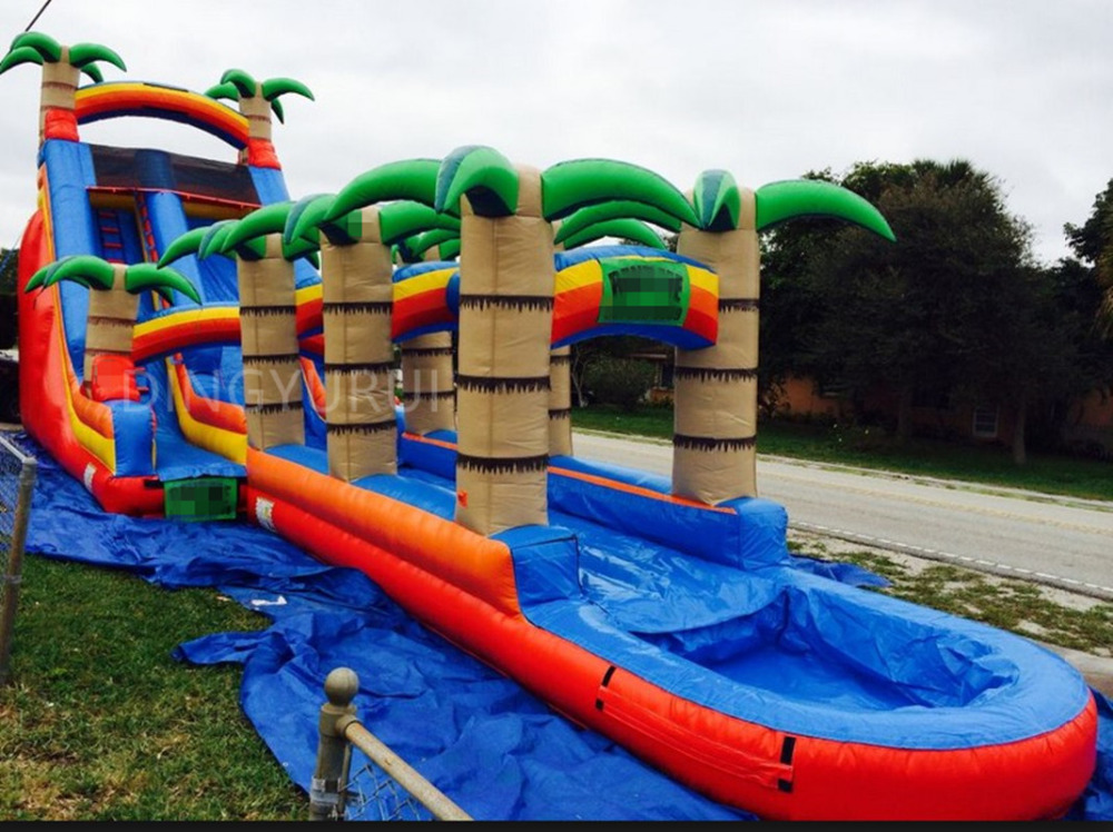 Water inflatable water slide with pool with blower for