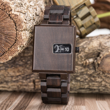 Relojes marcas BOBO BIRD Wood Watches Square Dial Mens Quartz Wristwatches Handcrafed Gift