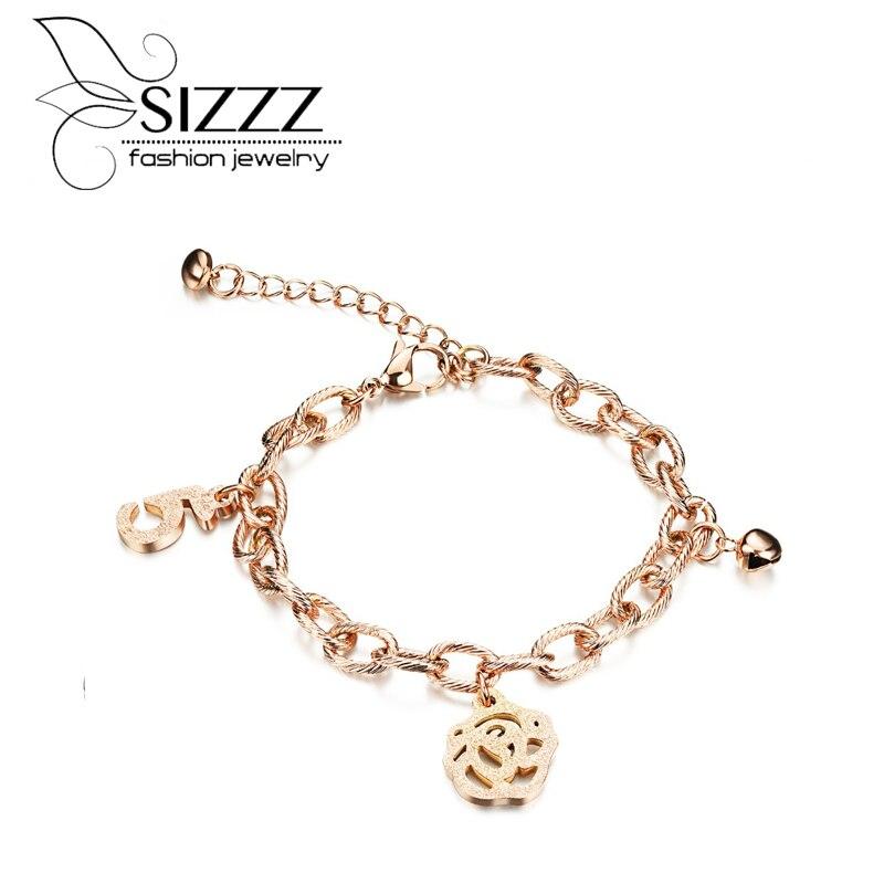 Sizzz 16-21 см длинный Регулируемый браслет цветок нержавеющая сталь покрытие цвета розового золота браслет украшения для женщин