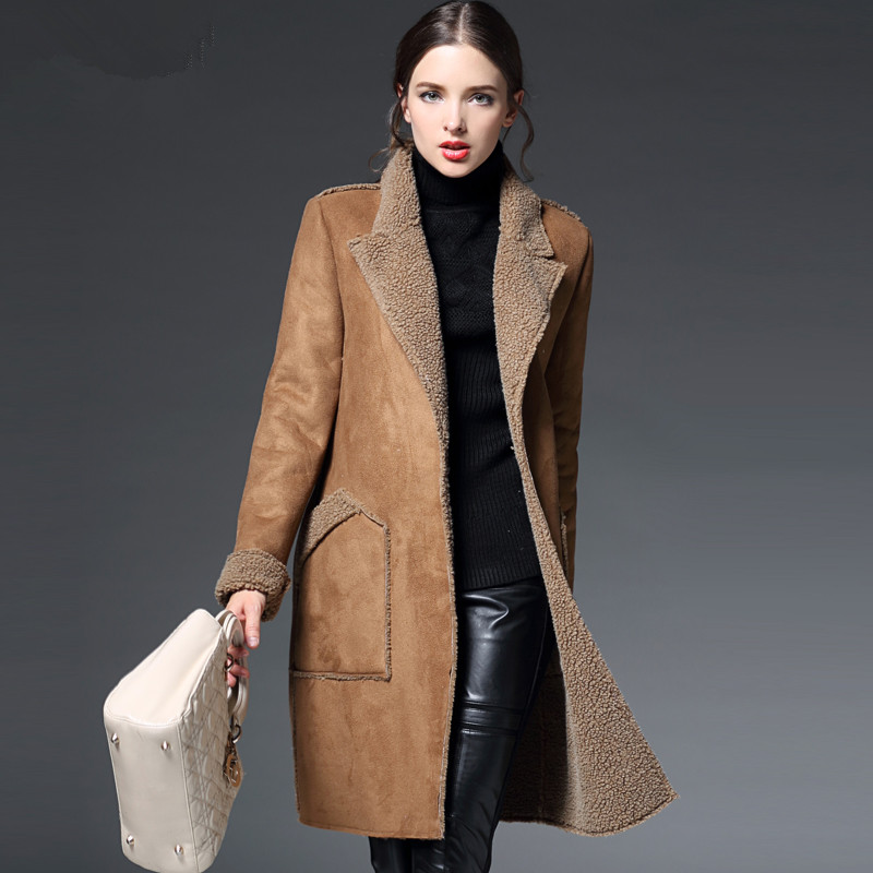 manteau femme winter jacket women suede lambs wool coat thick cotton padded maxi coats long. Black Bedroom Furniture Sets. Home Design Ideas