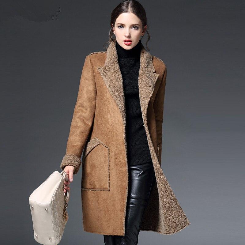Manteau Femme hiver veste Femme daim agneaux laine Manteau épais coton rembourré Maxi manteaux longue veste Femme Parka Manteau femmes C2674