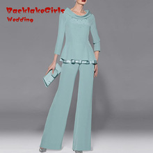 Chiffon Mother of the Bridal Dresses Long Sleeves Two Pieces Pants Suit Evening Party Gowns Custom Made Robe de Soiree