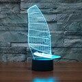 Luzes LED 3D Luz Da Noite criativo 3D Acrílico Colorido Gradiente Lâmpada Atmosfera forma de barco à vela Descoloração Lâmpada IY803357
