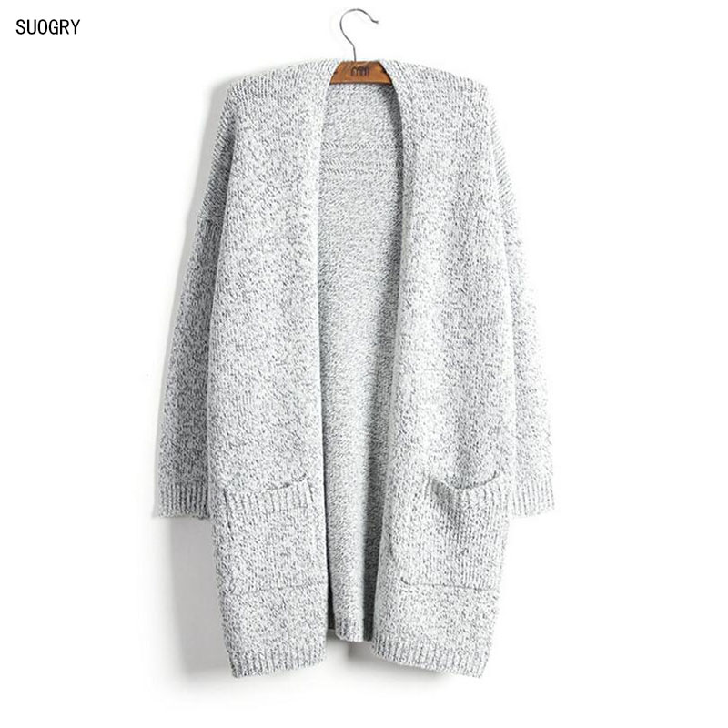 SUOGRY 2018 Girl Casual Long Knitted Cardigan Autumn Korean Women Loose Solid Color Pocket Design Sweater Jacket