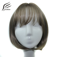 Jeedou Straight Synthetic Hair Short Wigs 240g 12inches 30cm Light Brown Mix Gray Color BOBO Party