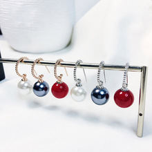 2019 Top selling 925 silver and rose gold Natural shell Black Red White Big Pearl Dangle Earrings women wedding jewelry new