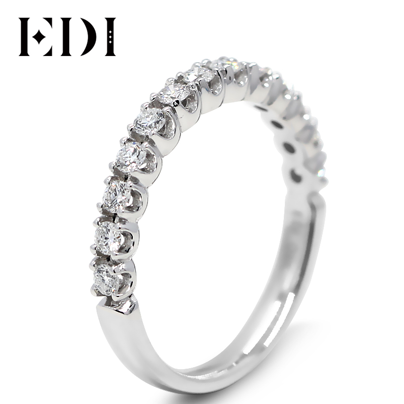 EDI Classic Real Diamond Engagement Wedding Band Natual Diamond Jewelry For Women 9K Solid White Gold Wedding Engagement RingsEDI Classic Real Diamond Engagement Wedding Band Natual Diamond Jewelry For Women 9K Solid White Gold Wedding Engagement Rings