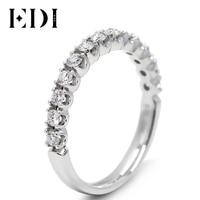 EDI Classic Real Diamond Engagement Wedding Band Natual Diamond Jewelry For Women 9K Solid White Gold Wedding Engagement Rings
