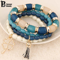 Bohemian Fashion Multilayer Beads Four Leaf Clover Tassels Bracelets & Bangles Elastic Charm Bracelet Gift Jewelry For Women