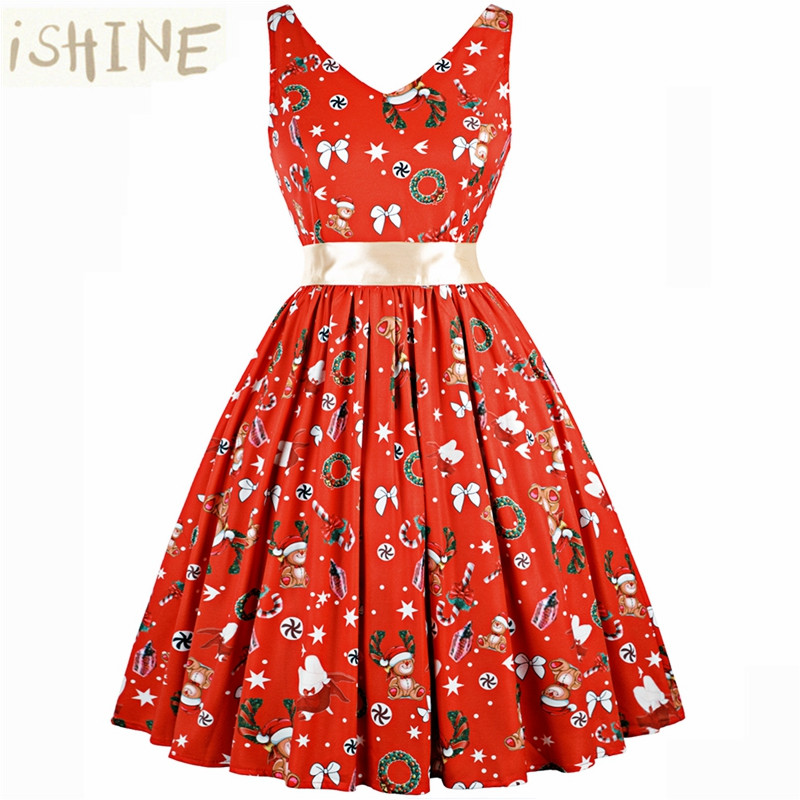 ISHINE V Print Vintage Women Sleeveless Retro Robe dresses