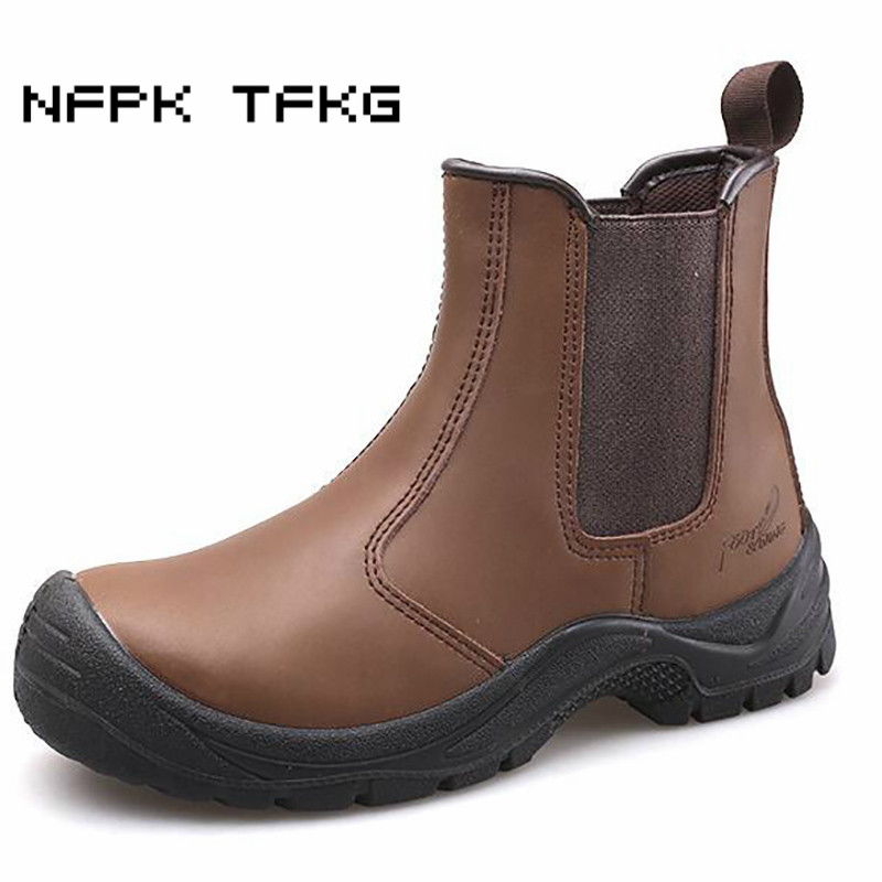 super large size men fashion breathable steel toe cap work safety tooling shoes cow leather security chelsea ankle boots zapatos стоимость