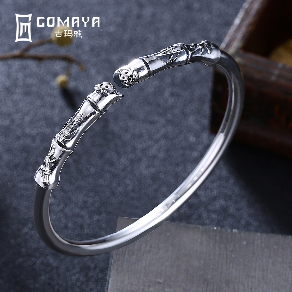 GOMAYA 100% 999 Sterling Silver Plant Bamboo Bangles Bracelets Antique Fine Jewelry Gift for Women Charm Elegant BraceletGOMAYA 100% 999 Sterling Silver Plant Bamboo Bangles Bracelets Antique Fine Jewelry Gift for Women Charm Elegant Bracelet