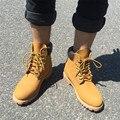 2017 Primavera Outono Marca Homens Galochas Botas de Moda Martin Botas de Couro Genuíno Botas Sapatos de Caminhada Ao Ar Livre Casuais