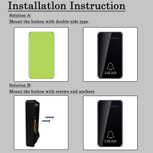 Image 5 - CACAZI Self powered Wireless Doorbell Waterproof No battery US EU UK AU Plug Calling Doorbell Chime 1 2 Button 1 2 Receiver