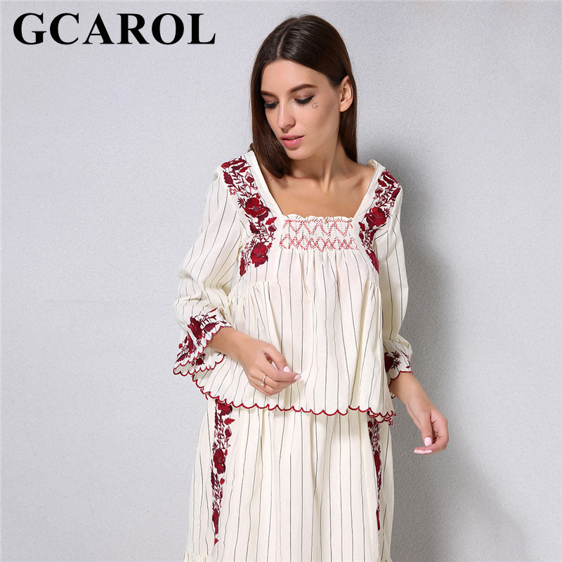 GCAROL 2018 Women Elastic Decorative Red Embroidered Floral Blouse 3/4 Flare Sleeve Shirt Summer Striped Cropped Tops