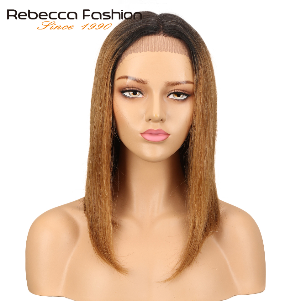 Rebecca Middle Part Human Hair Lace Wigs For Women Brazilian Remy Straight Hair Wig Blonde Brown Blue Colors Free Shipping headpiece