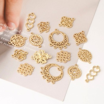 10pcs Mix Antique Gold Plated Connector for Earrings Jewelry Making Bracelet Accessories Craft DIY handmade Findings 8styles