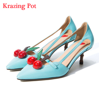 Fashion Superstar Large Size Brand Shoe Pointed Toe Party Wedding Luxury Red Cherry High Heels Women