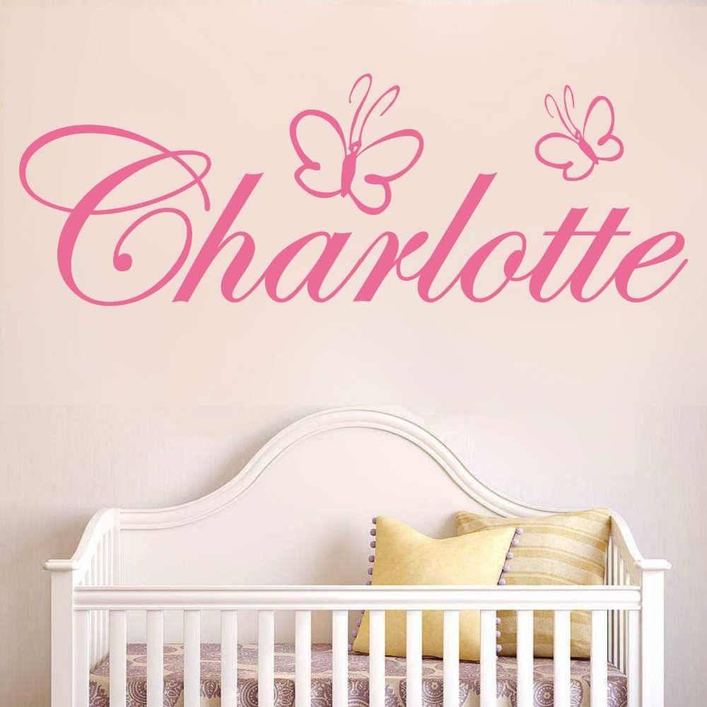 Personalized Custom DIY Name Butterfly Girls Bedroom Nursery Kids Room Wall Sticker Decor Removable Wall Art Sticker