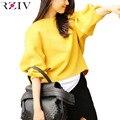 RZIV ocasional femenina 2016 otoño color sólido linterna flojas de la manga suéteres de lana de las mujeres