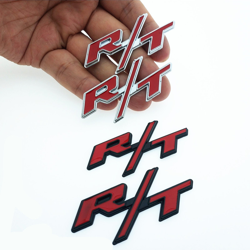 CDIY 2pcs RT Small Metal Sticker Car Tail Rear Side 3D Chrome Badge For dodge Nitro Challenger Avenger Durango Viper JCUV