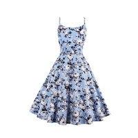 2018 New Summer Tank A Line Vintage Dresses Print Floral 1950s Style Elegant Party Dress O