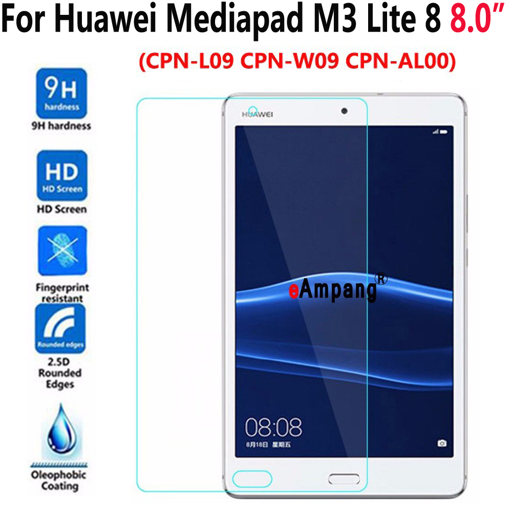 Tempered Glass For Huawei Mediapad M3 Lite 8 8.0 CPN-L09/W09 CPN-AL00 Transparent Screen Protective Film Tablet Screen Protector 9h tempered glass screen protector for huawei mediapad m3 lite 10 bah w09 al00 10 1 inch tablet protective toughened glass film