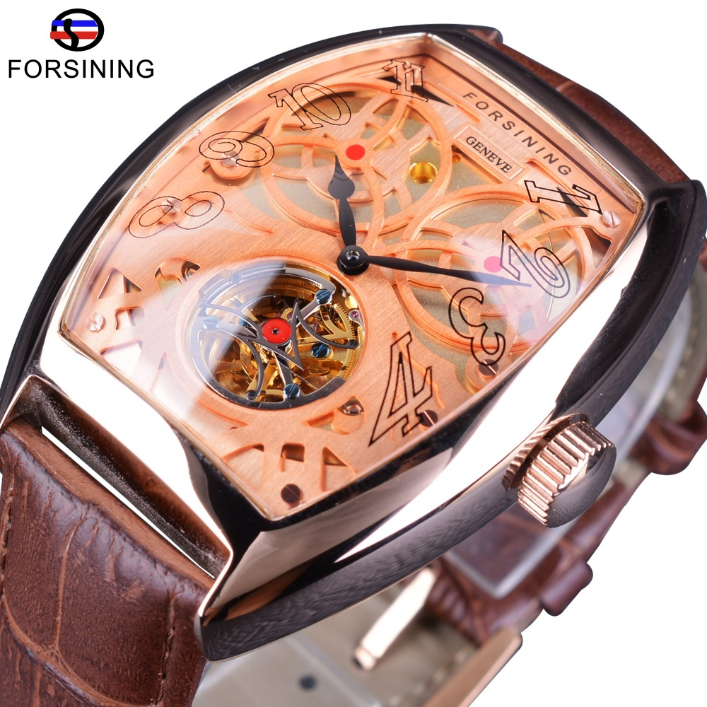Forsining Rose Golden Open Work Skeleton Luxury Design Moving Tourbillion Genuine Belt Mens Automatic Watches Top Brand Luxury forsining 3d skeleton twisting design golden movement inside transparent case mens watches top brand luxury automatic watches