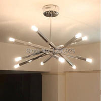 Free Shipping 12 Lamp Holders Contemporary Chrome Rod Star Pendant Lamp Ceiling Hanging Chandelier PLL 226