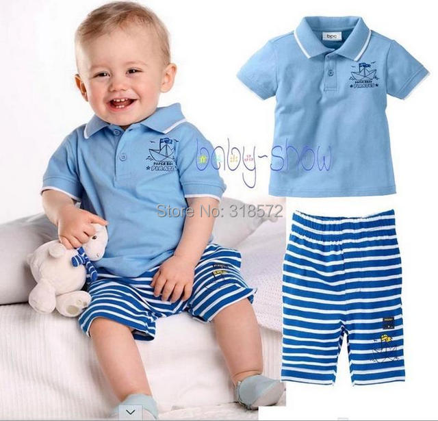 7d13846b9 Baby boys clothing wholesale cotton babies sets boy suit brand clothing  summer set kids polo shirt + children trousers shorts