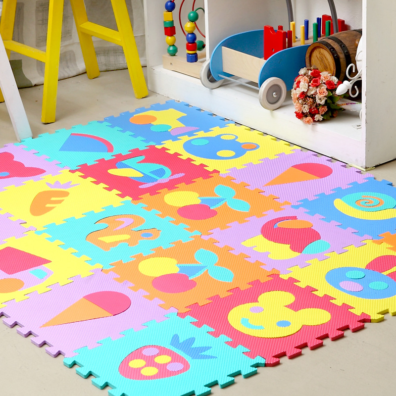 9pcsset eva carairplaneanimalfirutvegetables mat puzzle carpet