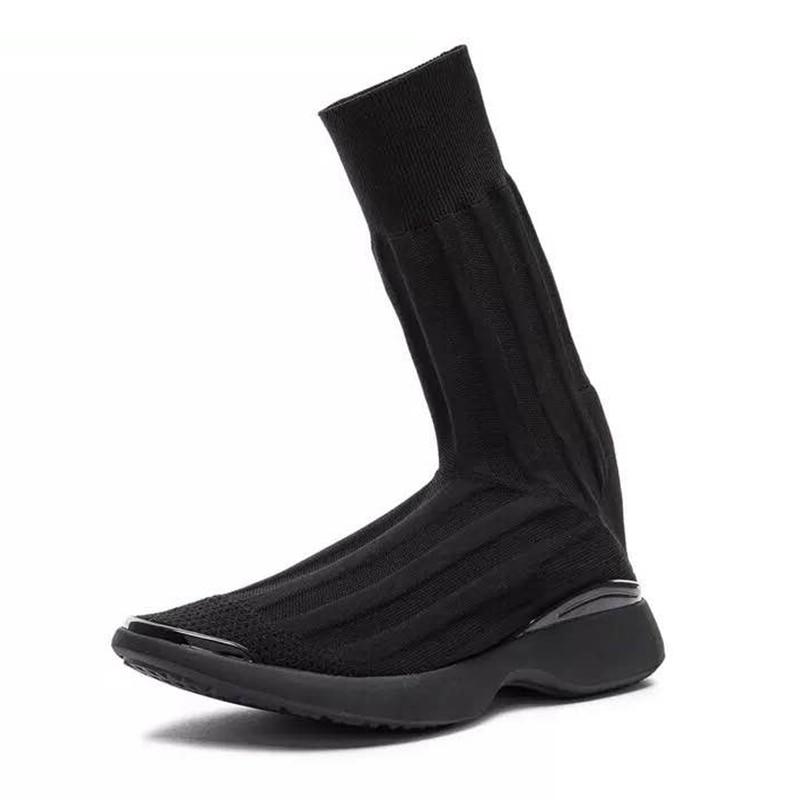 Stiefel Runway Slip Heißer Socke Verkauf Sarairis Stricken Beliebte Frauen Schuhe Schwarzes Neue Frau Zeigen Auf xpPXxqdz