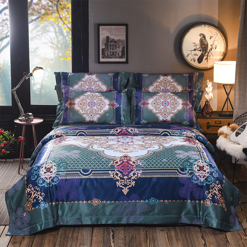 New Bohemia style Bedding Set cotton Bedspread Duvet Cover Set AB side Bed Set With Flat Sheet 4PcsNew Bohemia style Bedding Set cotton Bedspread Duvet Cover Set AB side Bed Set With Flat Sheet 4Pcs