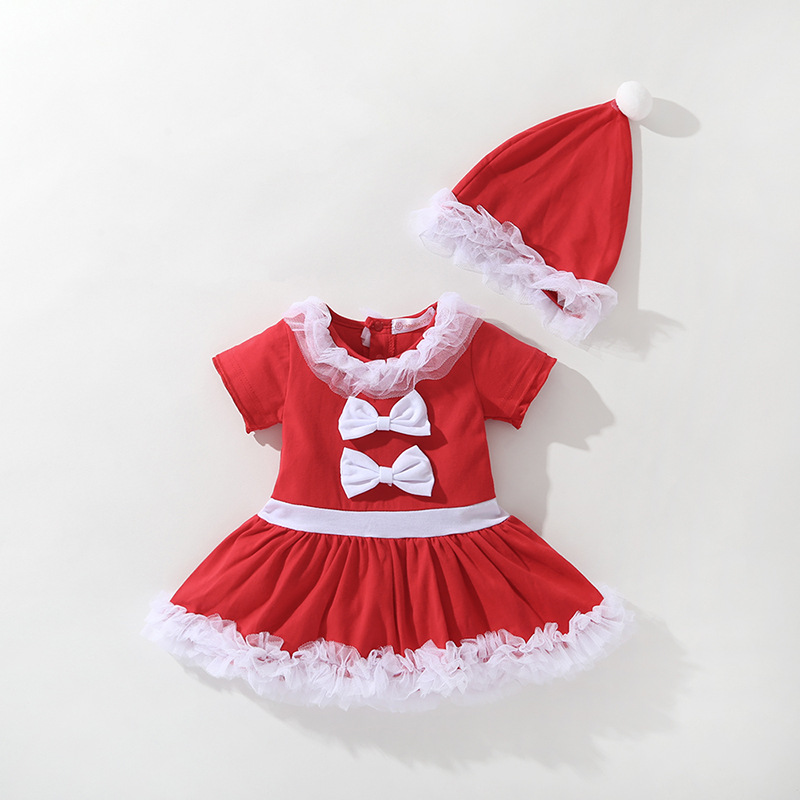 European American New Year's Suit Costume Kids Girls Red Christmas Princess Dress Matching Clothes Children's Elf Cosplay Outfit