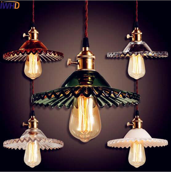 IWHD Glass Loft Style Industrial Pendant Light Fixtures Dinning Room LED Edison Retro VIntage Lamp Hanglamp Lamparas Luminaire 2pcs american loft style retro lampe vintage lamp industrial pendant lighting fixtures dinning room bombilla edison lamparas