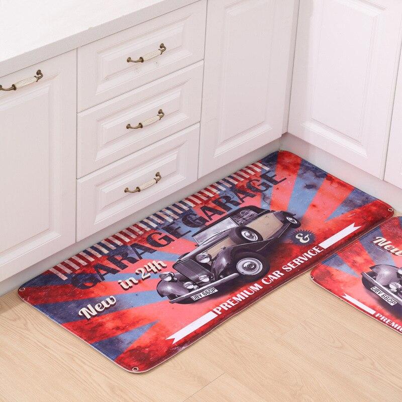 Soft Fleece Fabric Carpet Hallway Living Room Parlor Bathroom Floor Mats Retro Garage Car Pattern Area Rug Carpet Kids Room Deco