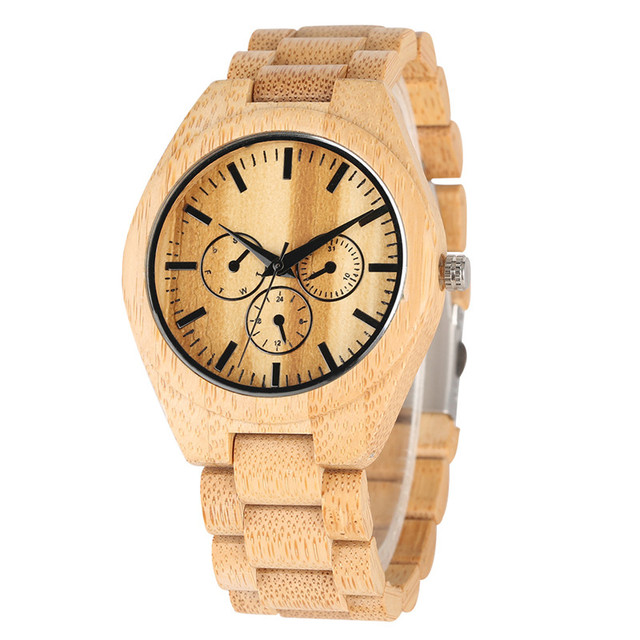 Natural Bamboo Quartz Watch Movement Without Literal for Women Men Minimalist Wooden Watches Elegant Wood Strap Wrist Watch | Fotoflaco.net