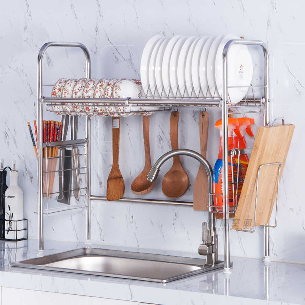 Stainless Steel Kitchen Rack Shelf for Sink Hanging Hook Dish Bowl Drainer Storage Organizer Chopsticks Holder Kitchen Organizer