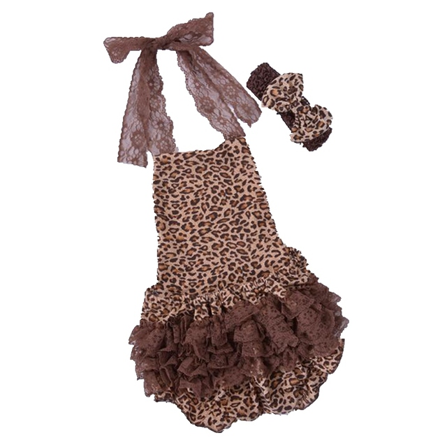 Мода 2016 браун леопардовый комбинезон повязка на голову летние девушки комплектов одежды новорожденного ребенка одежда одежда
