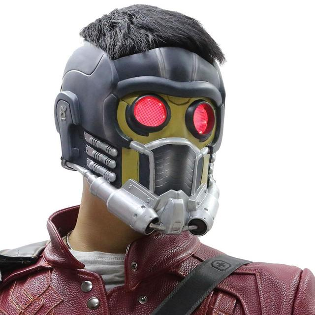 Coslive Star Lord Mask With Glow Glasses Guardians of the Galaxy Cosplay Helmet PVC Full Head Halloween Costume Accessories