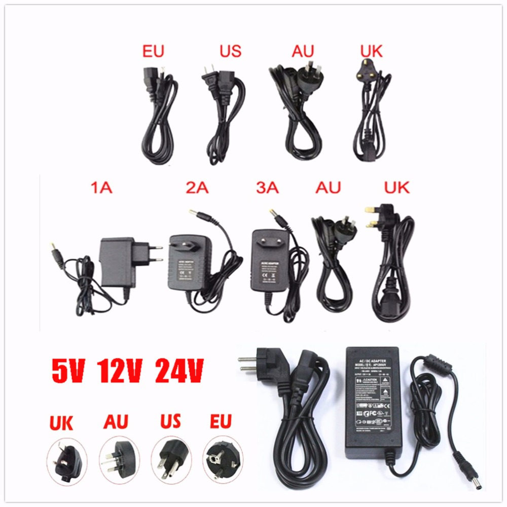 EU/US AC 85-245V To DC 5V/12V24V/ 1A 2A 3A 5A 6A 8A 10A Power Supply Adapter Driver Switch For 3528 530 5050 Strip LED image