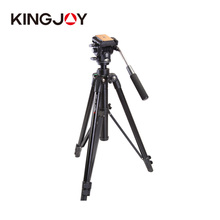 KINGJOY VT-2000 Skilled Mg-Al Alloy Digicam Tripod Kits With 360 panoramic Fluid Head Max Load 22lb for Video Picture Digicam