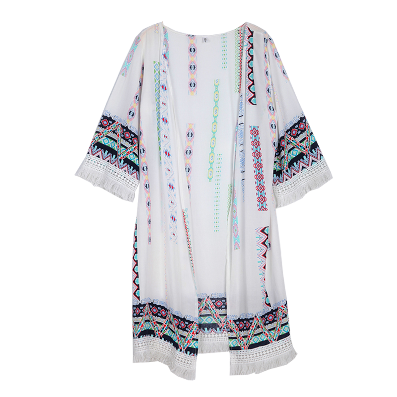 Bohemian style 2018 fashion three quarter flare sleeve summer pure color patchwork embroidery floral print tassel chiffon shirts 19