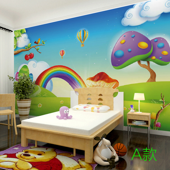 3d Stereo Rainbow Wallpaper Children Room Whole Seamless