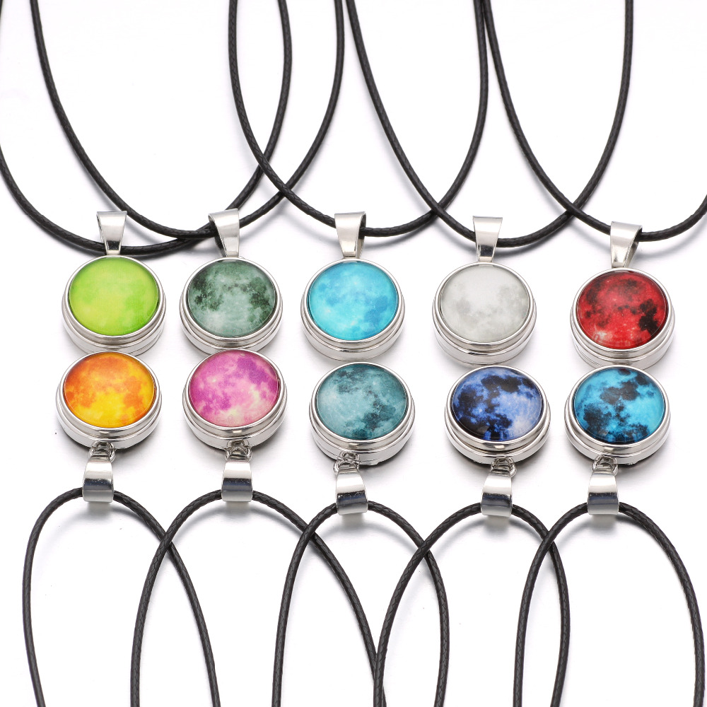 Glowing in the Dark Full Glowing Star Series Planet Glass Necklace Snap Button Jewelry Women Glowing Glass Dome Pendant Necklace