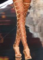 Sestito Ladies Cut outs Stiletto Heels Runway Shoes Woman Peep Toe Gladiator Sandals Boots Female Lace up Over the knee Boots