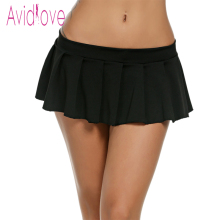 Avidlove Women Sexy Mini Skirts Casual Solid Pleated Skirt Erotic Lingerie Dress Sleepwear Summer Plus Size U2